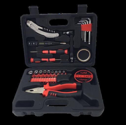 set de herramientas para el hogar negro y rojo 32 piezas