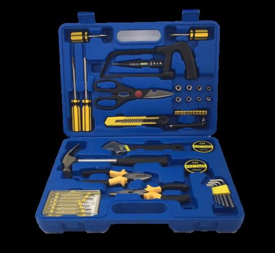 set de herramientas para el hogar TM-44 azul y amarillo